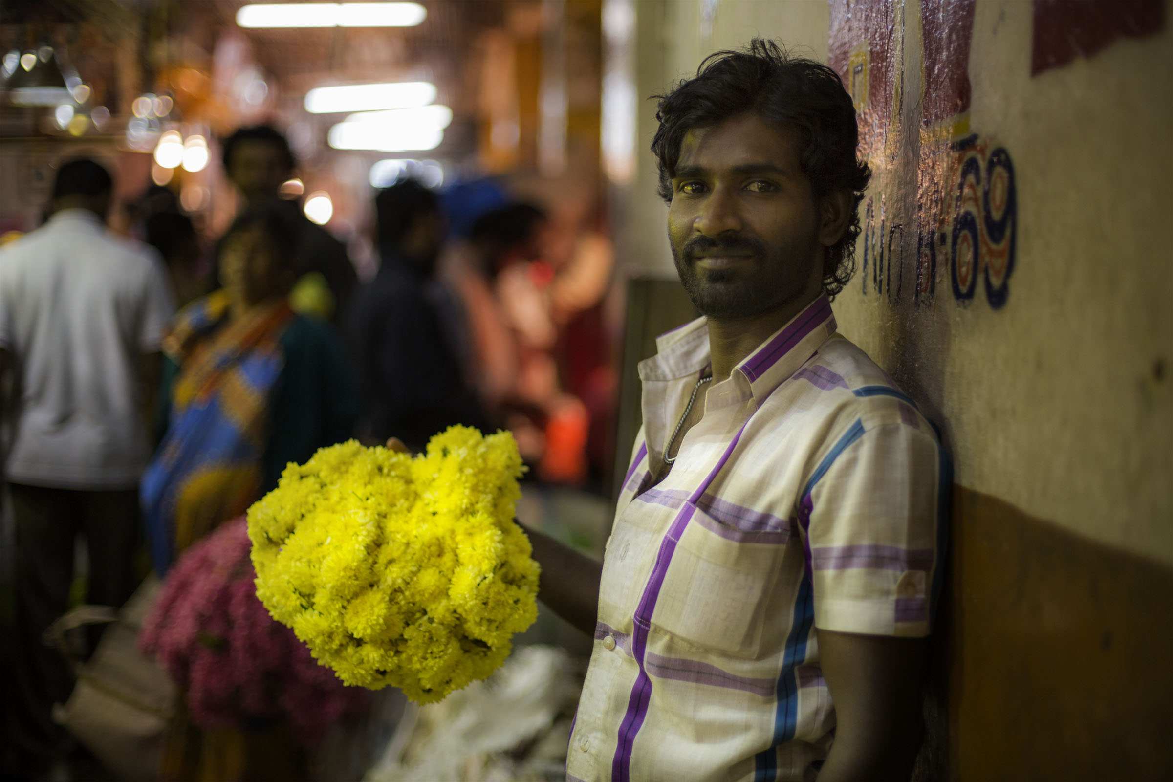 Flower vendor at Bangalore flower market